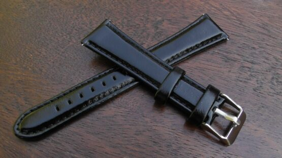 marcool gloss leather watch strap black