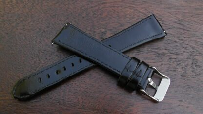 marcoola black leather watch straps rear showing quick release spring bars