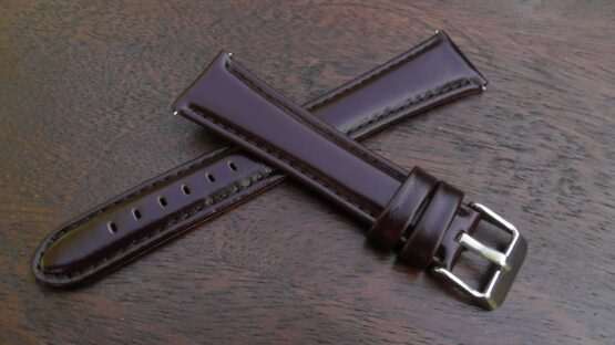 marcoola brown leather gloss watch strap