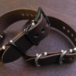 tanahwa dark brown leather nato strap