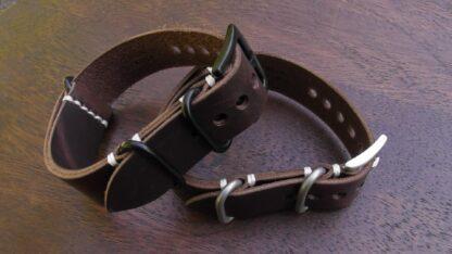tanahwa dark brown leather nato strap