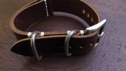 tanawha dark brown nato strap silver buckles