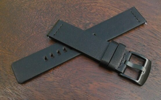 valdora black buckle black leather watch strap