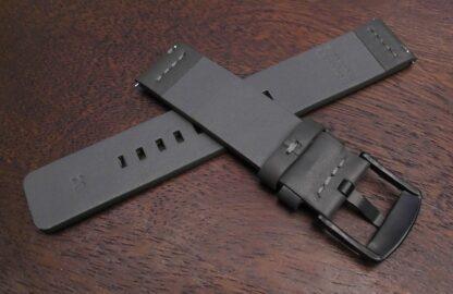 valdora genuine leather flat watch strap grey