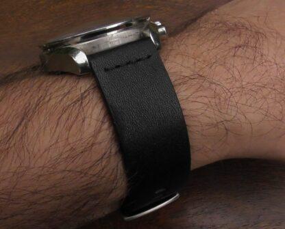 valdora watch strap fittted to omega speedmaster professional watch