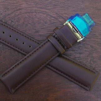 warana brown deployant clasp leather band