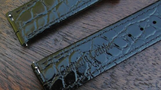 closeup of quick release leather watch strap