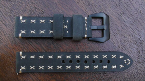winton green coss stitched leather watch band