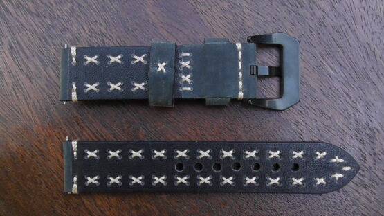 winton green leather watch band rear