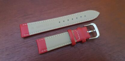 rear of warana red leather watch strap