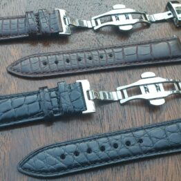 alligator leather watch strap real skin brown and black with deployant clasp