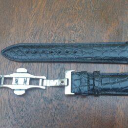 black genuine alligator leather watch strap