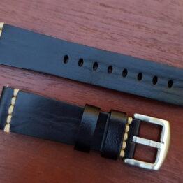 flaxton italian calf leather watch strap black