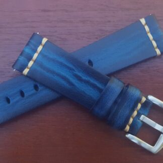 blue leather wrapped Italian calf watch strap