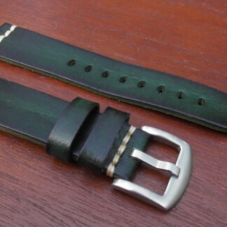 green leather watch strap silver buckle