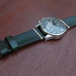 flaxton green leather watch strap with Audi watch