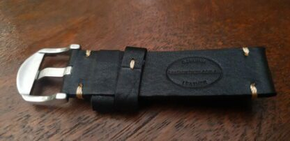 ninderry leather watch strap showing genuine leather stamp