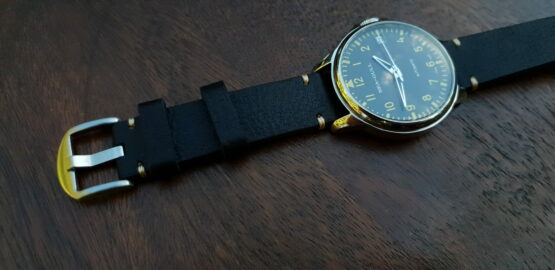 Ninderry one piece leather strap on seagull big pilot watch