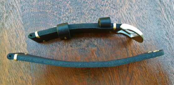 ninderry leather strap side view showing leather grain