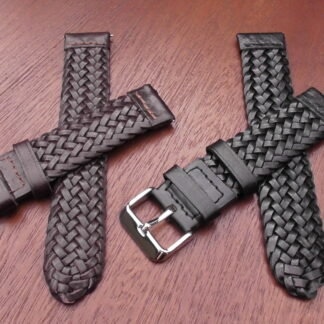 braided leather watch straps with quick release brown or black leather