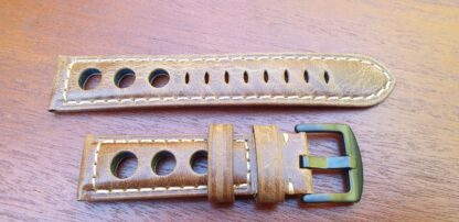 leather rally racing strap brown with black buckle