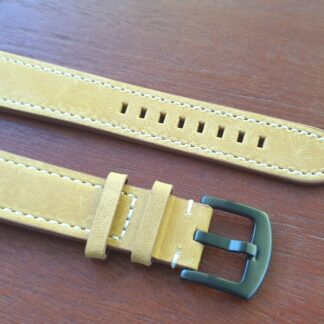 tan leather watch band black buckle