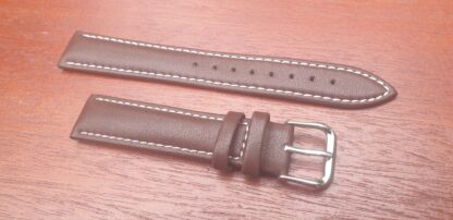 warana brown leather strap with white stitching