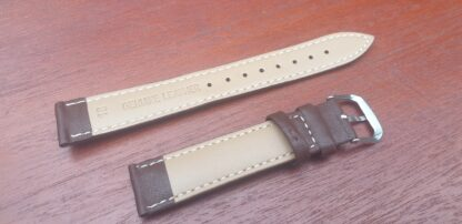 rear of brown leather watch band
